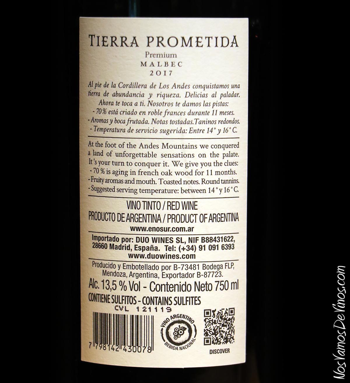 Tierra Prometida Premium Malbec 2017 Corcho Trasera