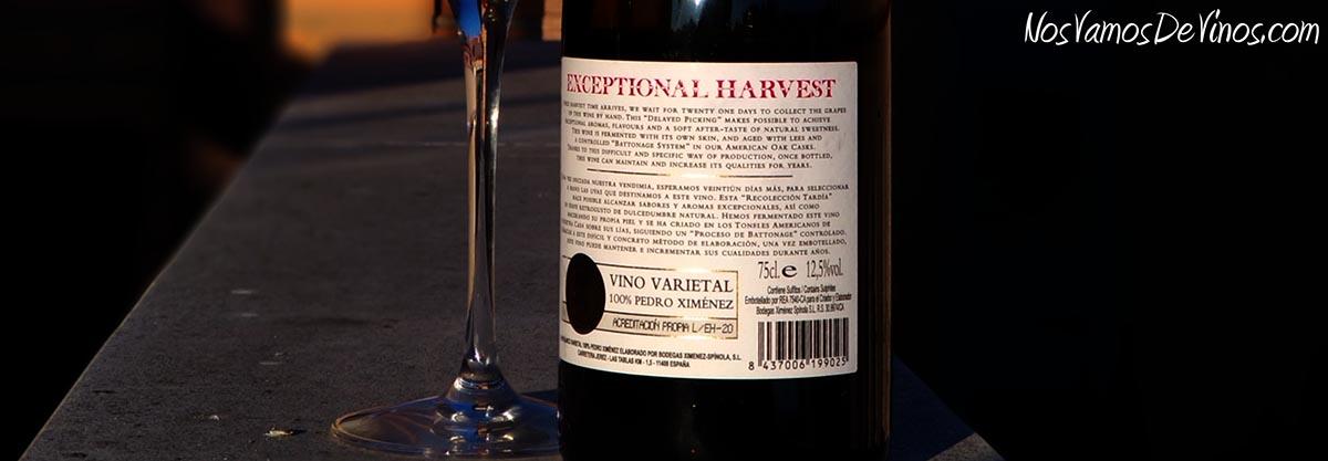 Ximénez Spínola Exceptional Harvest 2019 Etiqueta Trasera