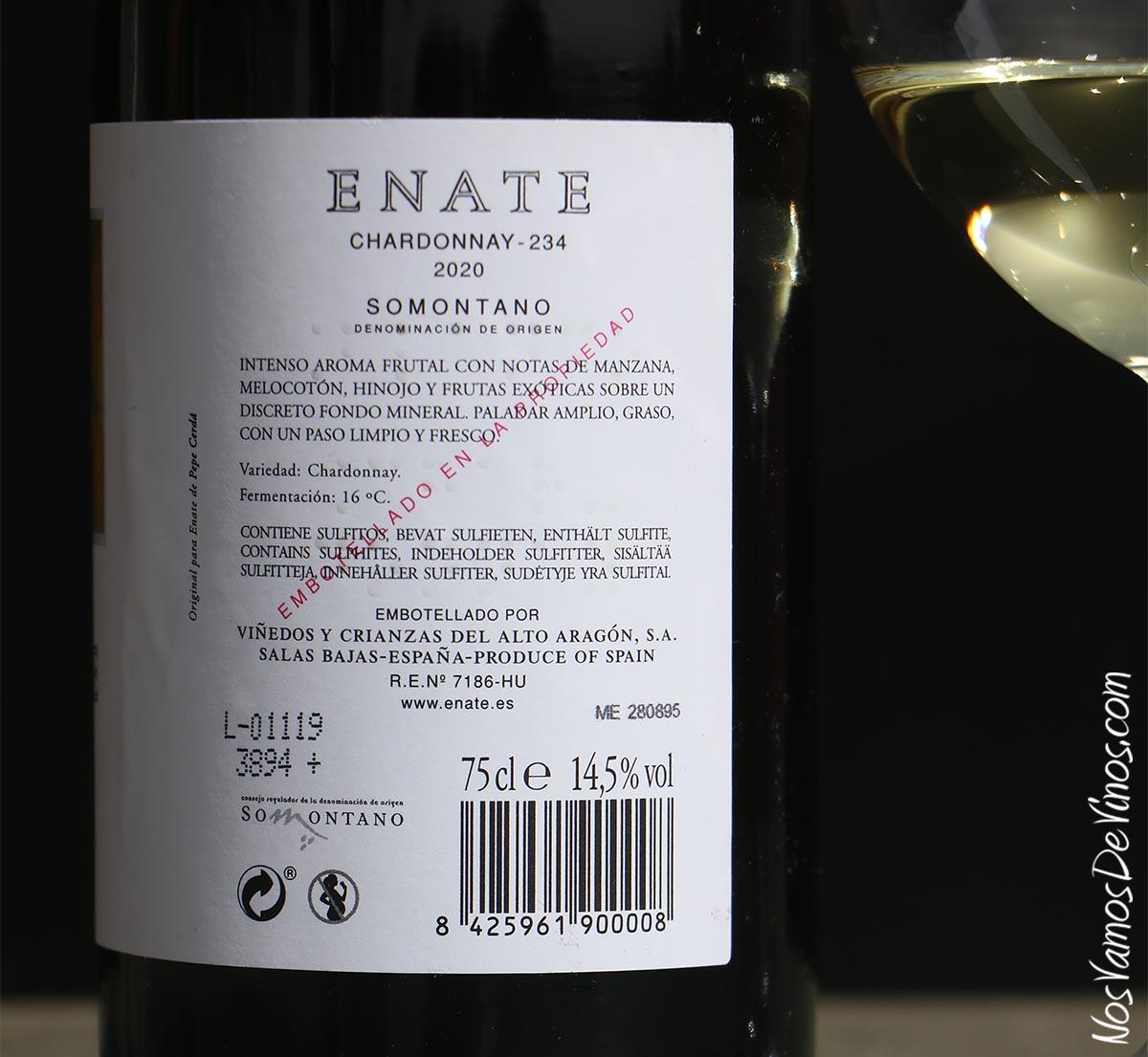 Enate Chardonnay-234 2020 Trasera