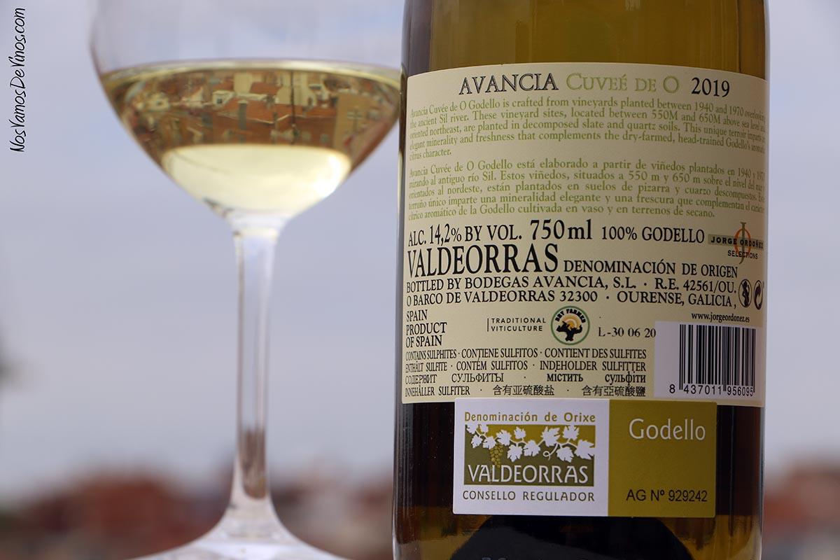 Cuvée de O Godello 2019 Corcho Etiqueta Trasera