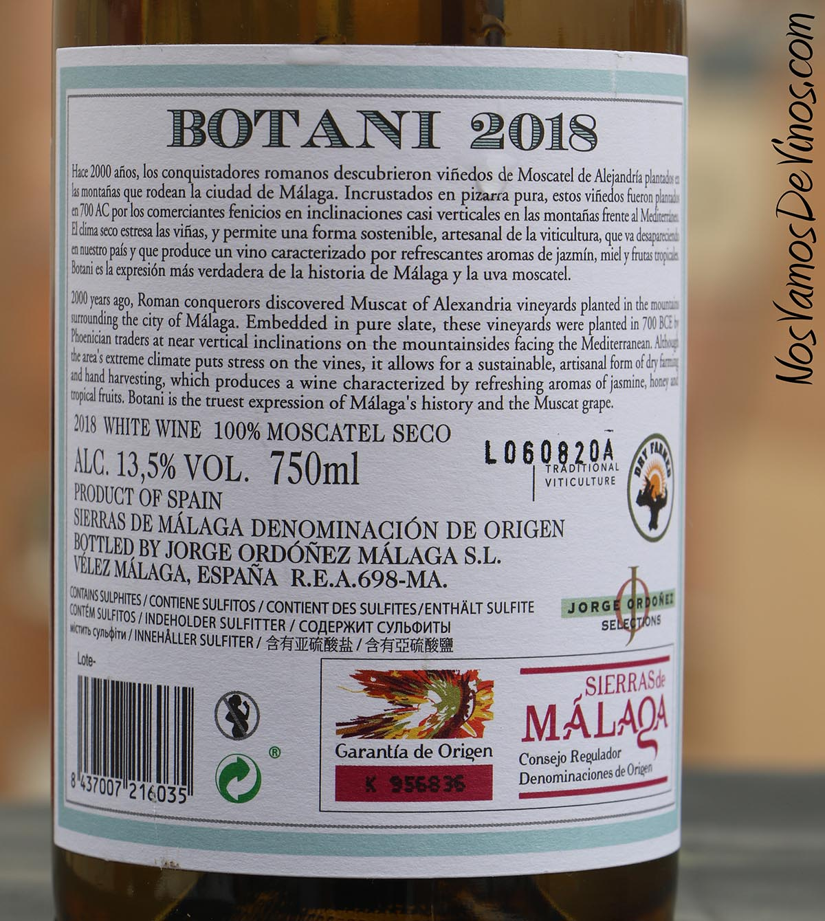 Botani Old Vines 2018 Etiqueta Trasera