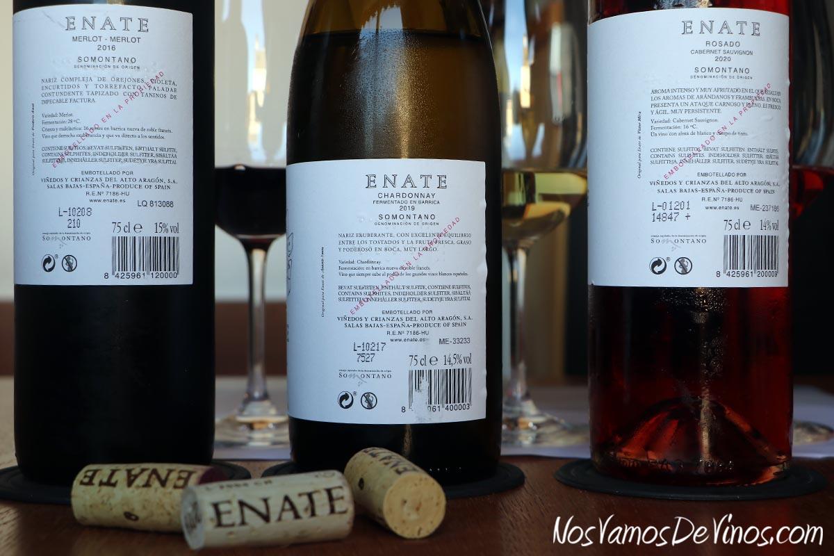 Enate Rosado Cabernet Sauvignon 2020, Chardonnay Fermentado en Barrica 2019 & Merlot-Merlot 2016 Etiquetas Traseras