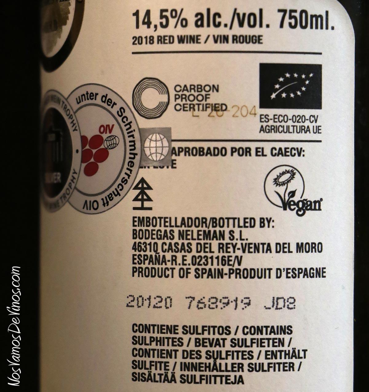 Just Fucking Good Wine Tinto 2018 Trasera