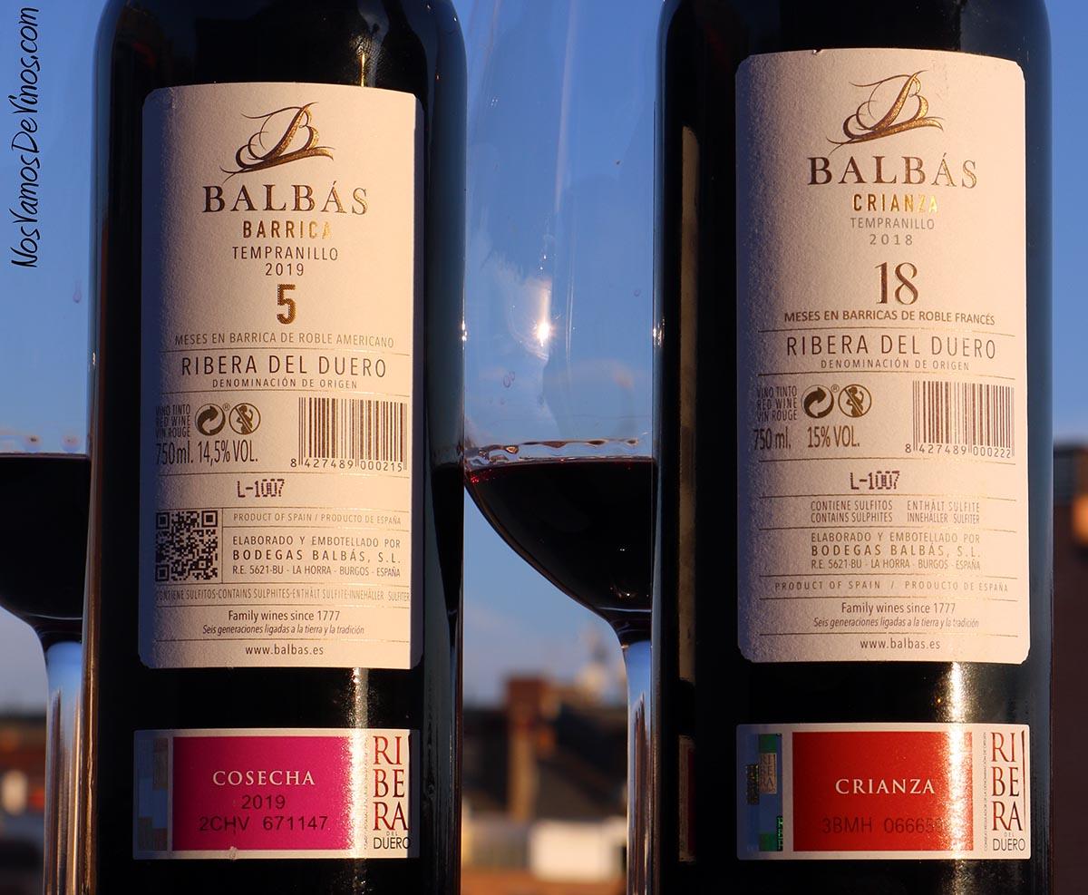 Balbas Barrica 5 2019 & Balbás Crianza 18 2018 Trasera