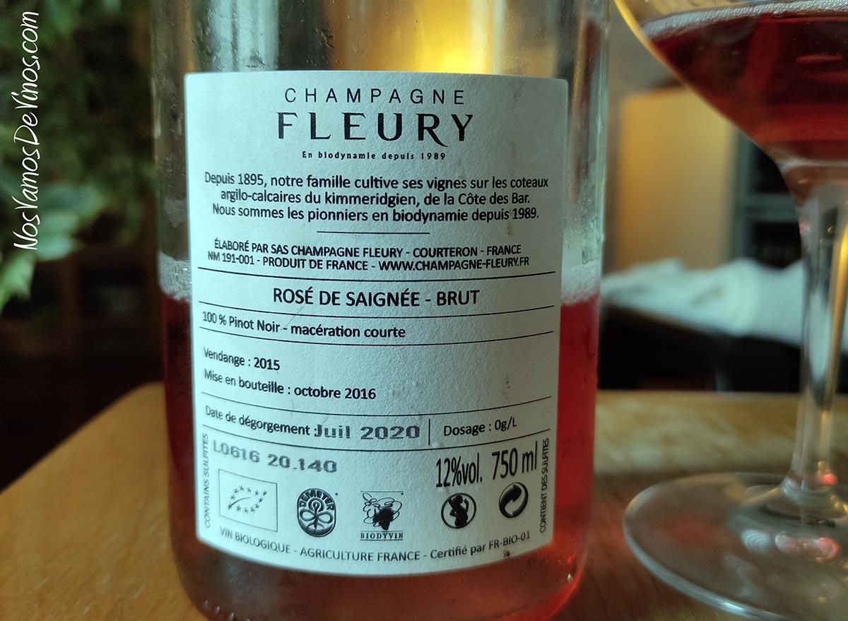 Fleury Rosé de Saignée 2015 Etiqueta Trasera