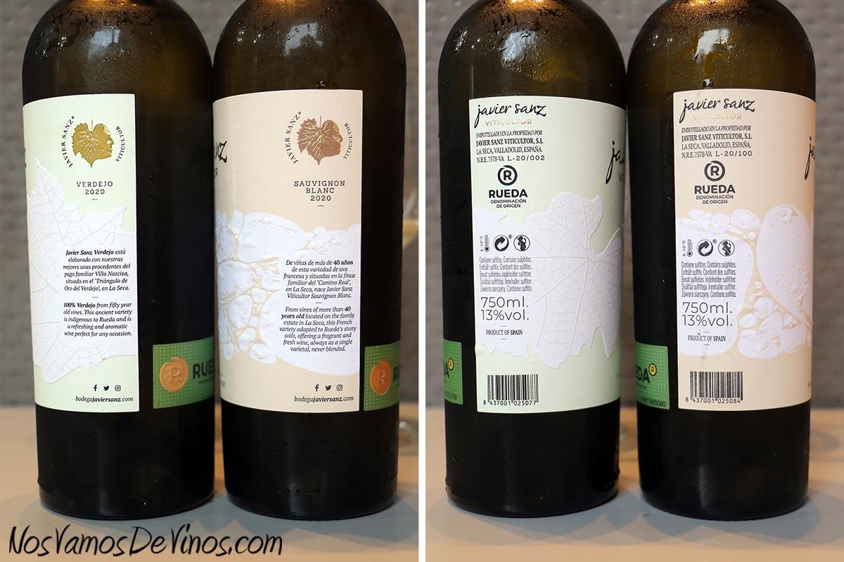 Javier Sanz Viticultor Verdejo 2020 & Javier Sanz Sauvignon Blanc 2020 Tirirlla D.O. Información etiquetas