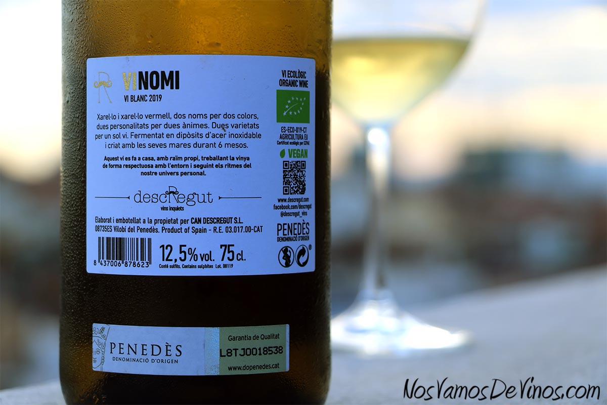 Vinomi Vi Blanc 2019 Etiqueta Trasera